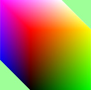 This Is A 3D Image Of The RGB Cube It Was Obtained By Using Rgb Faces Program To Obtain 3 With One Red Vertex And Adobe